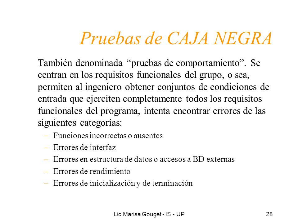 Lic.Marisa Gouget - IS - UP28 Pruebas de CAJA NEGRA También denominada pruebas de comportamiento. Se centran en los requisitos funcionales del grupo,