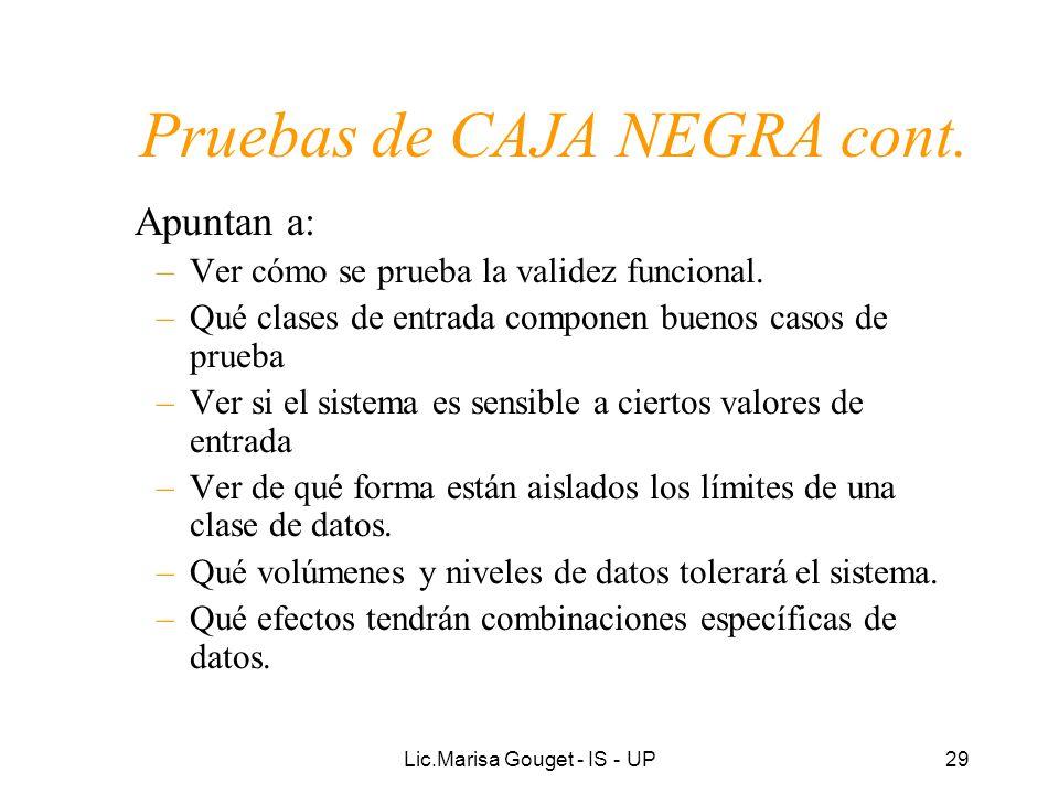 Lic.Marisa Gouget - IS - UP29 Pruebas de CAJA NEGRA cont. Apuntan a: –Ver cómo se prueba la validez funcional. –Qué clases de entrada componen buenos
