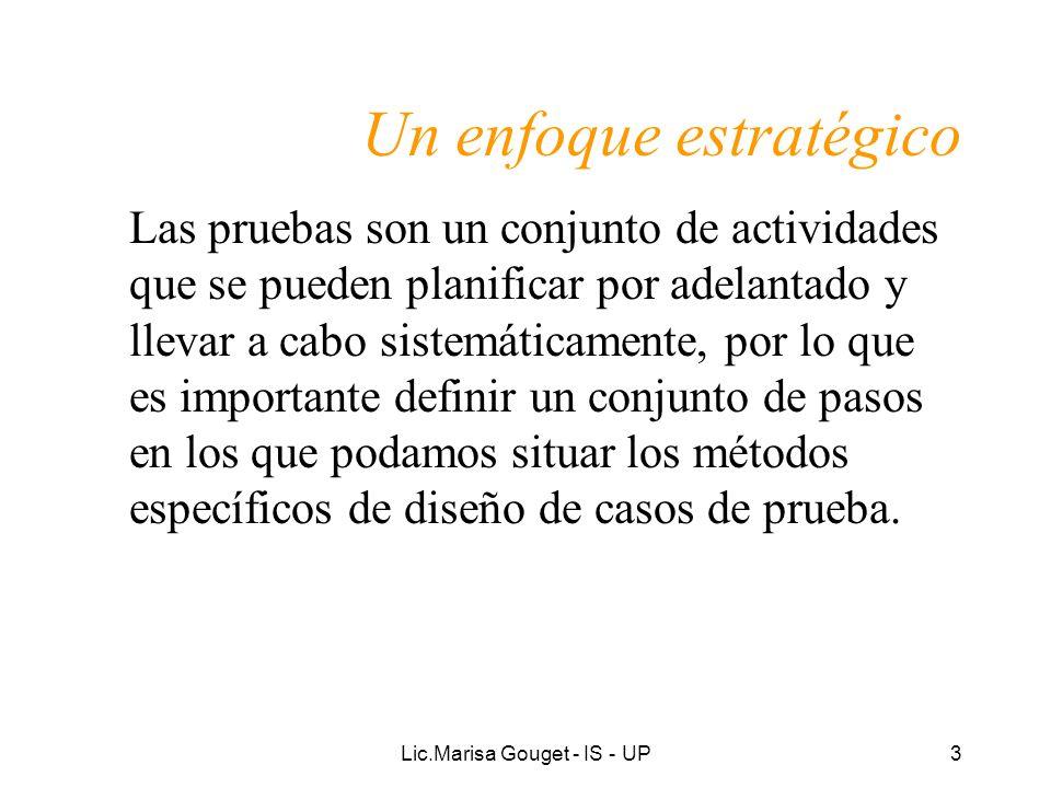 Lic.Marisa Gouget - IS - UP3 Un enfoque estratégico Las pruebas son un conjunto de actividades que se pueden planificar por adelantado y llevar a cabo