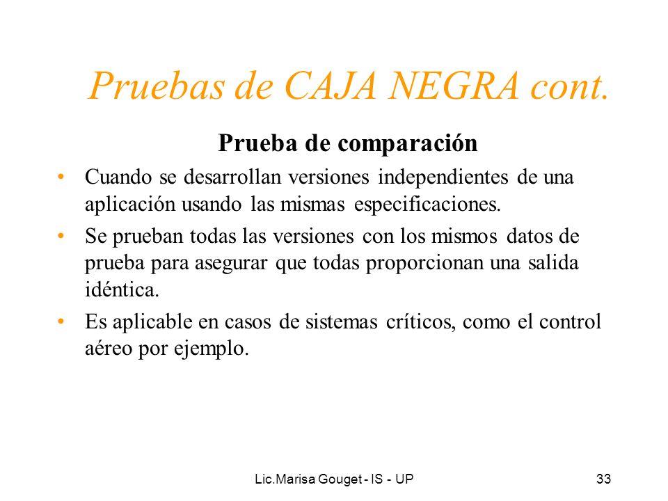 Lic.Marisa Gouget - IS - UP33 Pruebas de CAJA NEGRA cont. Prueba de comparación Cuando se desarrollan versiones independientes de una aplicación usand