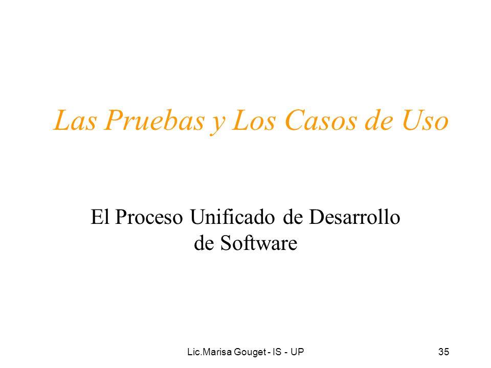 Lic.Marisa Gouget - IS - UP35 Las Pruebas y Los Casos de Uso El Proceso Unificado de Desarrollo de Software