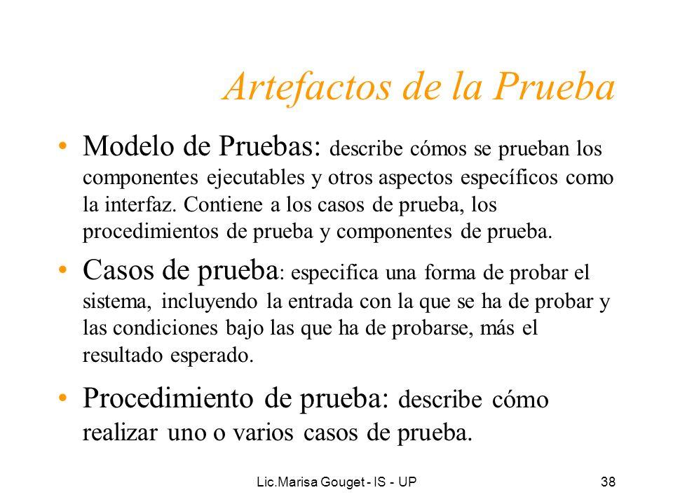 Lic.Marisa Gouget - IS - UP38 Artefactos de la Prueba Modelo de Pruebas: describe cómos se prueban los componentes ejecutables y otros aspectos especí