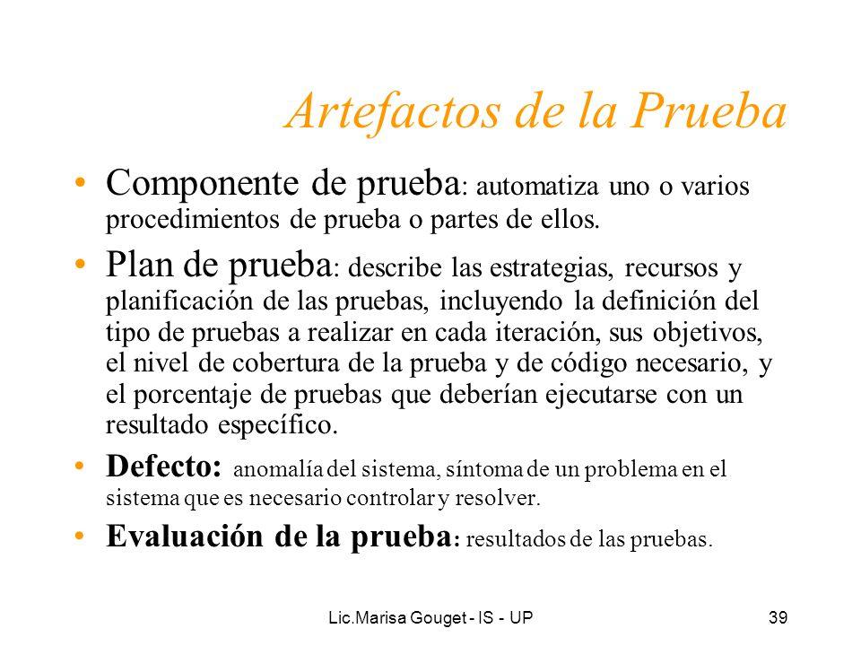 Lic.Marisa Gouget - IS - UP39 Artefactos de la Prueba Componente de prueba : automatiza uno o varios procedimientos de prueba o partes de ellos. Plan