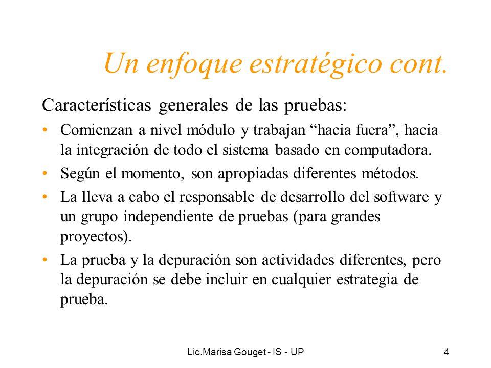 Lic.Marisa Gouget - IS - UP4 Un enfoque estratégico cont. Características generales de las pruebas: Comienzan a nivel módulo y trabajan hacia fuera, h