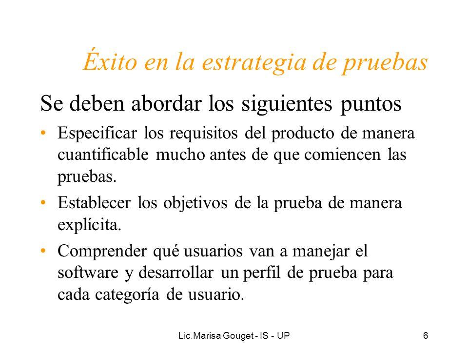 Lic.Marisa Gouget - IS - UP37 Pruebas Verificación del resultado de la implementación probando cada construcción: –Planificación de las pruebas –Diseño de las pruebas (Casos de prueba) –Realización de las pruebas