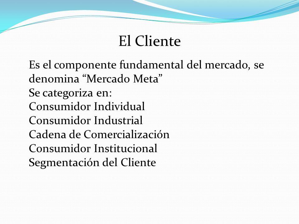 El Cliente Es el componente fundamental del mercado, se denomina Mercado Meta Se categoriza en: Consumidor Individual Consumidor Industrial Cadena de