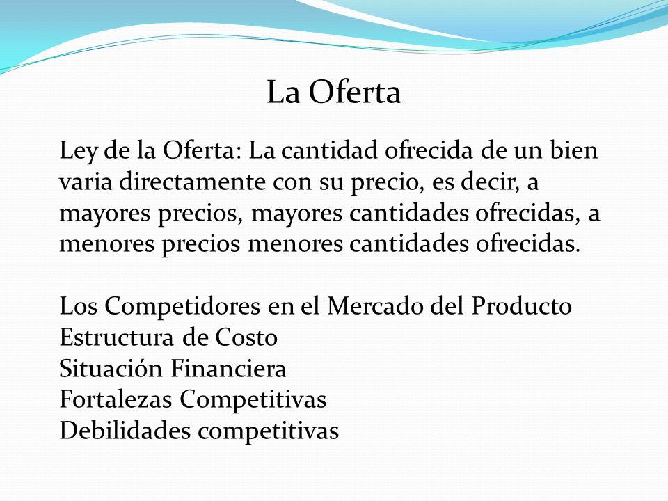 La Oferta Ley de la Oferta: La cantidad ofrecida de un bien varia directamente con su precio, es decir, a mayores precios, mayores cantidades ofrecida