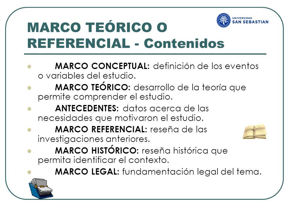 MARCO TEÓRICO O REFERENCIAL - Contenidos MARCO CONCEPTUAL: definición de los eventos o variables del estudio. MARCO TEÓRICO: desarrollo de la teoría q