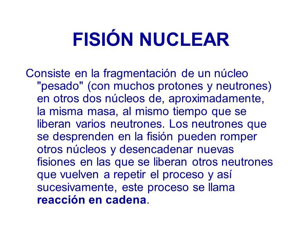 FISIÓN NUCLEAR Consiste en la fragmentación de un núcleo