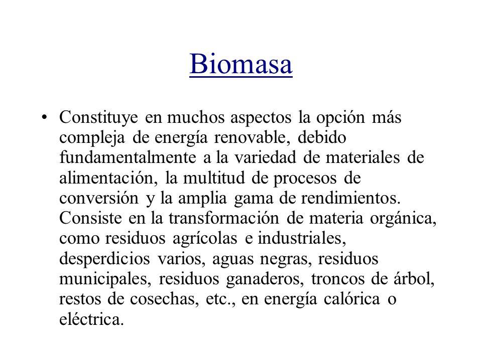 Biomasa Constituye en muchos aspectos la opción más compleja de energía renovable, debido fundamentalmente a la variedad de materiales de alimentación