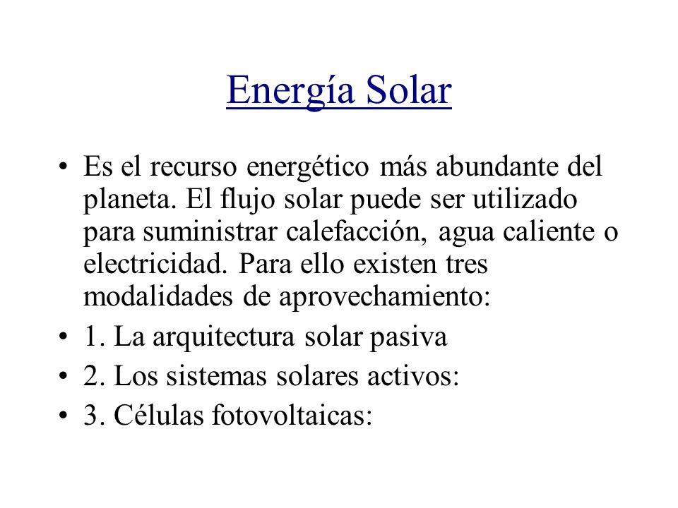 Energía Solar Es el recurso energético más abundante del planeta. El flujo solar puede ser utilizado para suministrar calefacción, agua caliente o ele
