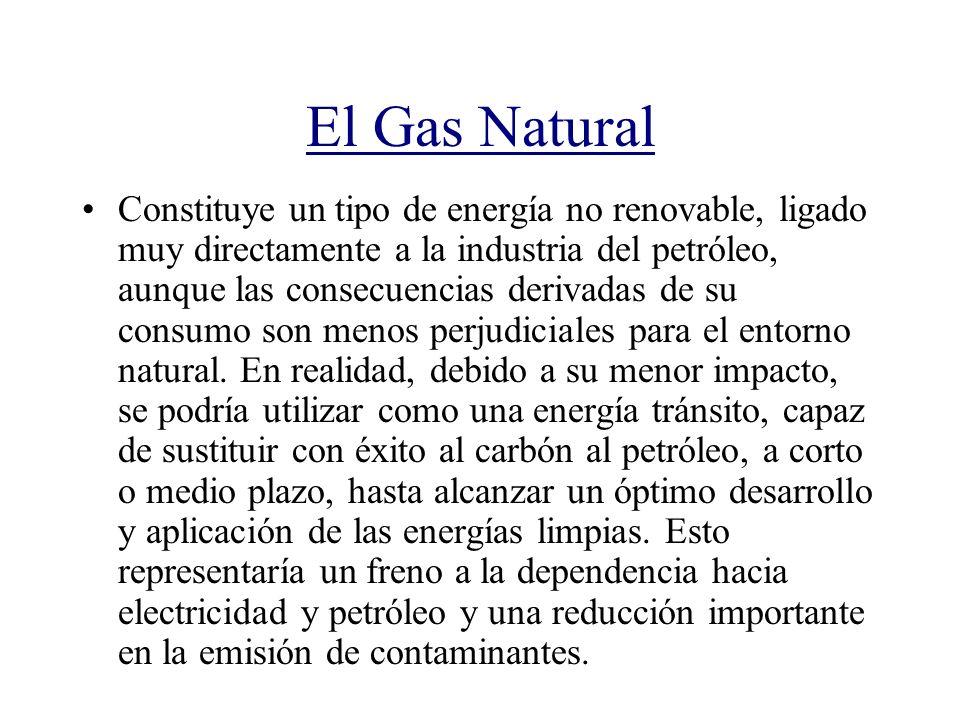 El Gas Natural Constituye un tipo de energía no renovable, ligado muy directamente a la industria del petróleo, aunque las consecuencias derivadas de