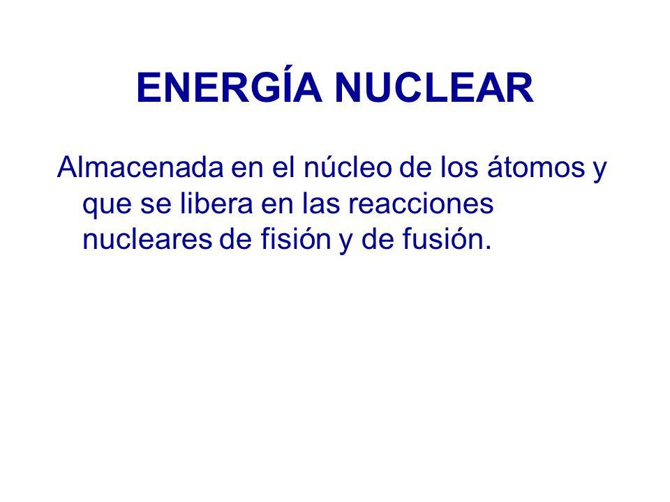 FISIÓN NUCLEAR Consiste en la fragmentación de un núcleo pesado (con muchos protones y neutrones) en otros dos núcleos de, aproximadamente, la misma masa, al mismo tiempo que se liberan varios neutrones.