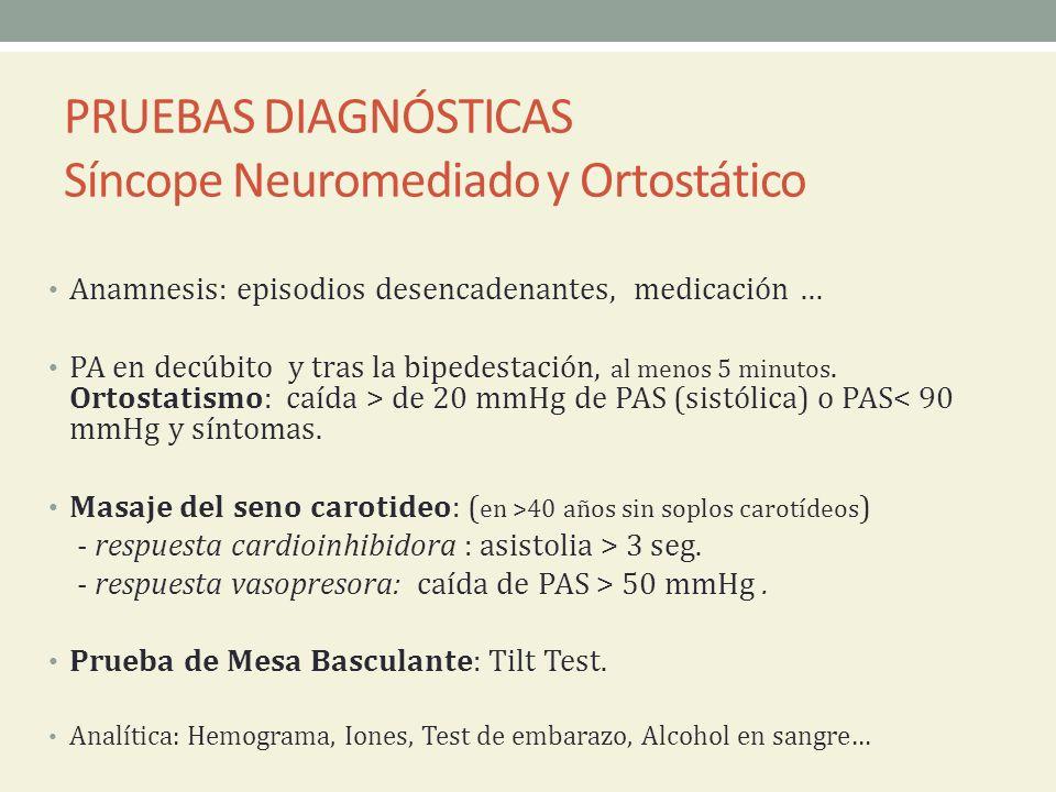 PRUEBAS DIAGNÓSTICAS Síncope Neuromediado y Ortostático Anamnesis: episodios desencadenantes, medicación … PA en decúbito y tras la bipedestación, al