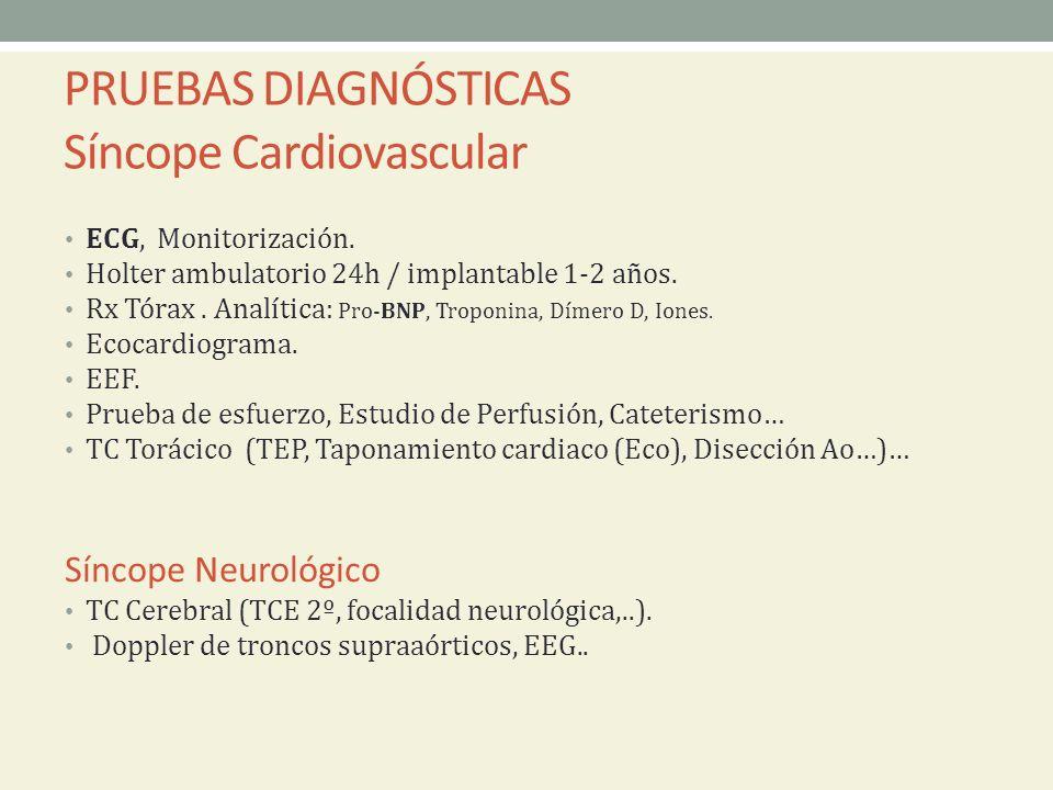 PRUEBAS DIAGNÓSTICAS Síncope Cardiovascular ECG, Monitorización. Holter ambulatorio 24h / implantable 1-2 años. Rx Tórax. Analítica: Pro-BNP, Troponin