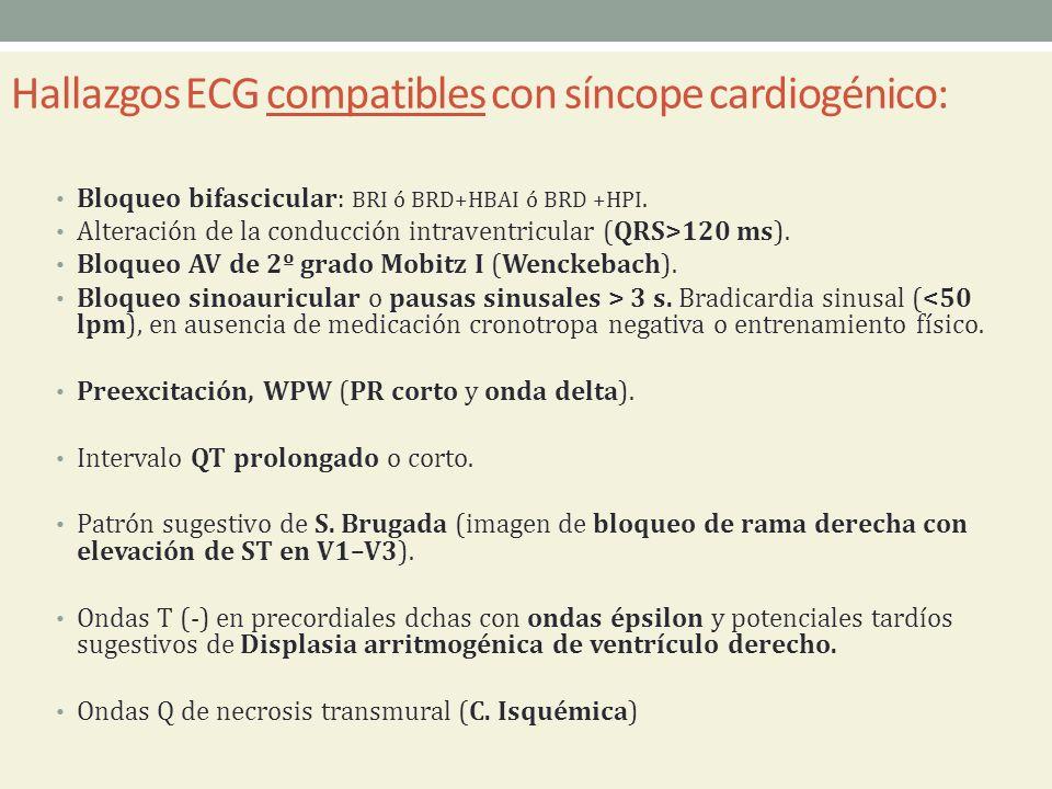 Hallazgos ECG compatibles con síncope cardiogénico: Bloqueo bifascicular: BRI ó BRD+HBAI ó BRD +HPI. Alteración de la conducción intraventricular (QRS