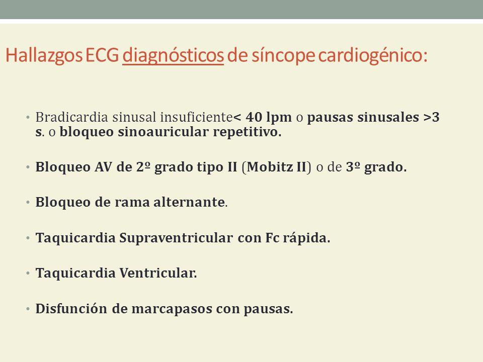 Hallazgos ECG diagnósticos de síncope cardiogénico: Bradicardia sinusal insuficiente 3 s. o bloqueo sinoauricular repetitivo. Bloqueo AV de 2º grado t