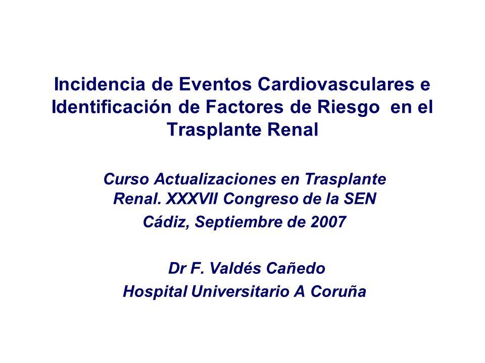 Incidencia de Eventos Cardiovasculares e Identificación de Factores de Riesgo en el Trasplante Renal Curso Actualizaciones en Trasplante Renal. XXXVII