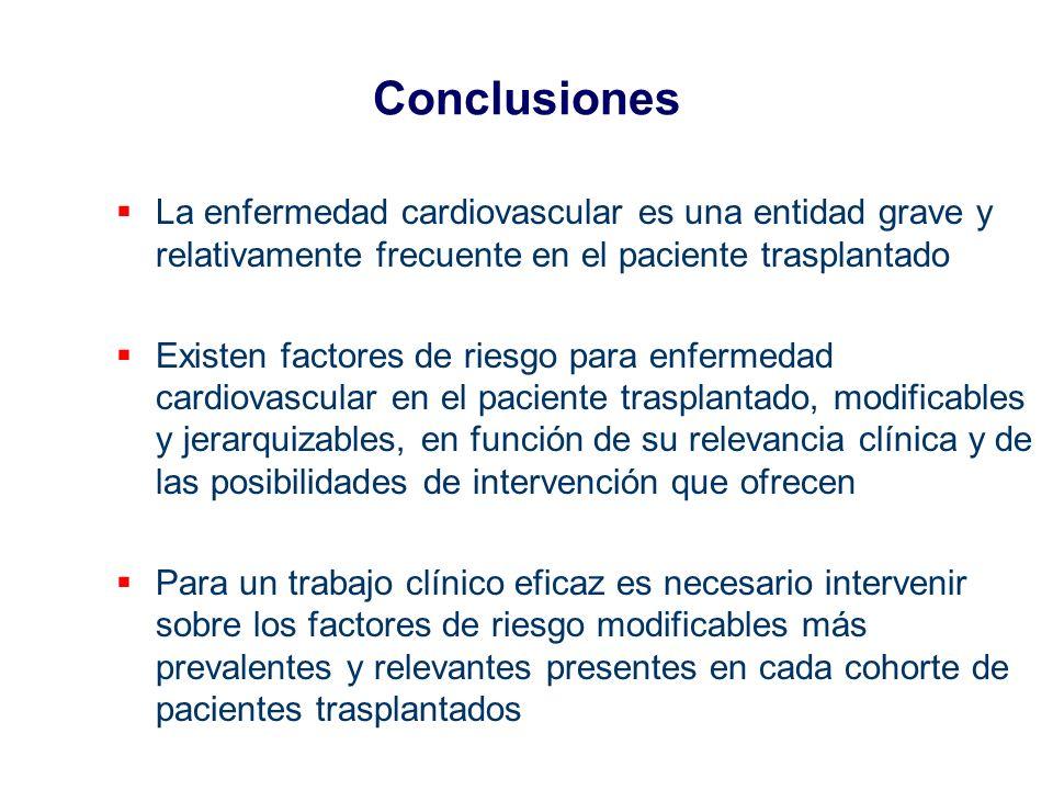 Conclusiones La enfermedad cardiovascular es una entidad grave y relativamente frecuente en el paciente trasplantado Existen factores de riesgo para e
