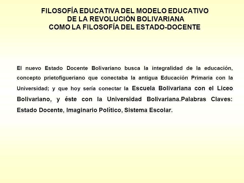 FILOSOFÍA EDUCATIVA DEL MODELO EDUCATIVO DE LA REVOLUCIÓN BOLIVARIANA COMO LA FILOSOFÍA DEL ESTADO-DOCENTE El nuevo Estado Docente Bolivariano busca l