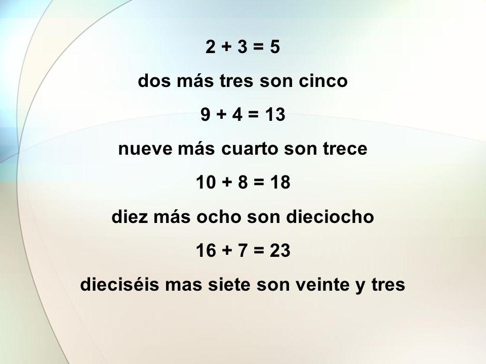 2 + 3 = 5 dos más tres son cinco 9 + 4 = 13 nueve más cuarto son trece 10 + 8 = 18 diez más ocho son dieciocho 16 + 7 = 23 dieciséis mas siete son vei
