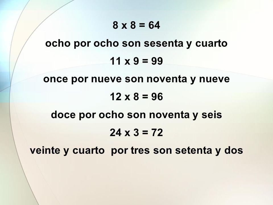 8 x 8 = 64 ocho por ocho son sesenta y cuarto 11 x 9 = 99 once por nueve son noventa y nueve 12 x 8 = 96 doce por ocho son noventa y seis 24 x 3 = 72