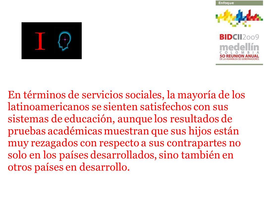 En términos de servicios sociales, la mayoría de los latinoamericanos se sienten satisfechos con sus sistemas de educación, aunque los resultados de p