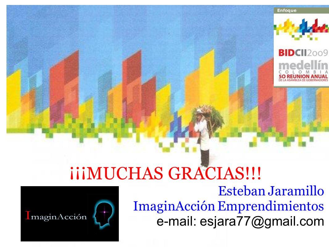 ¡¡¡MUCHAS GRACIAS!!! Esteban Jaramillo ImaginAcción Emprendimientos e-mail: esjara77@gmail.com