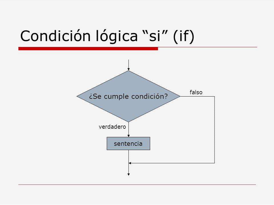 Condición lógica si (if) ¿Se cumple condición? verdadero falso sentencia