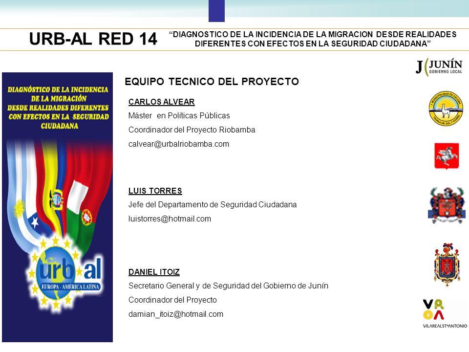 URB-AL RED 14 DIAGNOSTICO DE LA INCIDENCIA DE LA MIGRACION DESDE REALIDADES DIFERENTES CON EFECTOS EN LA SEGURIDAD CIUDADANA EQUIPO TECNICO DEL PROYEC