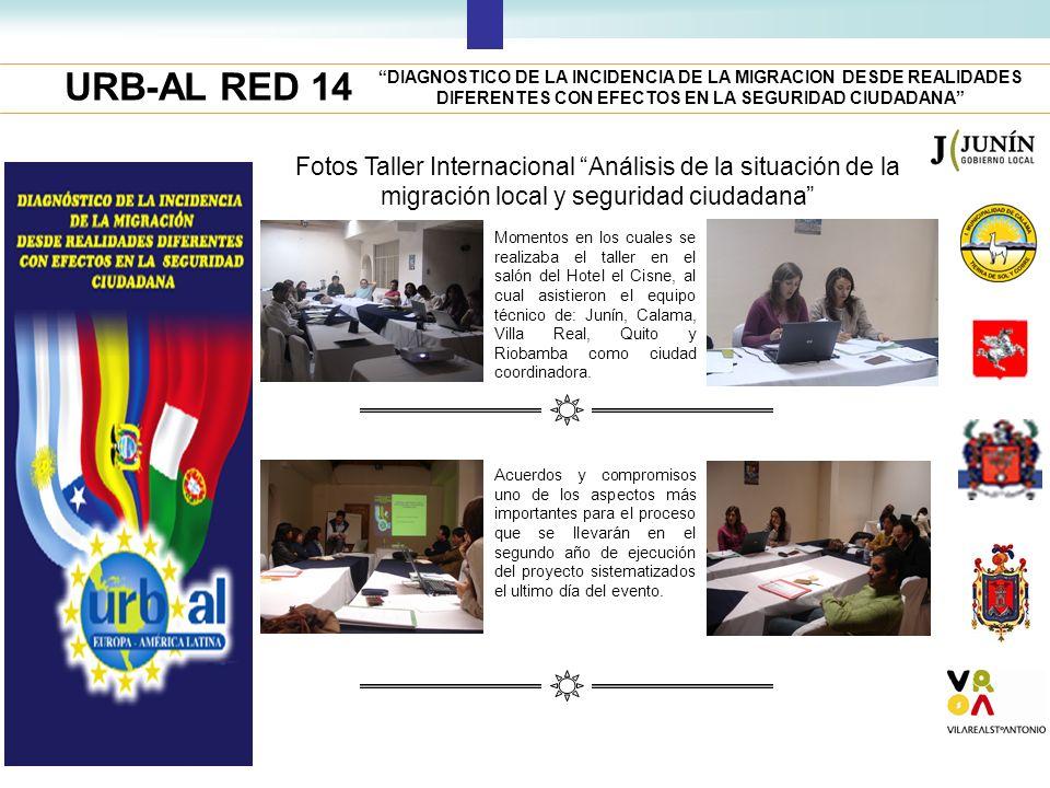 URB-AL RED 14 DIAGNOSTICO DE LA INCIDENCIA DE LA MIGRACION DESDE REALIDADES DIFERENTES CON EFECTOS EN LA SEGURIDAD CIUDADANA Fotos Taller Internaciona