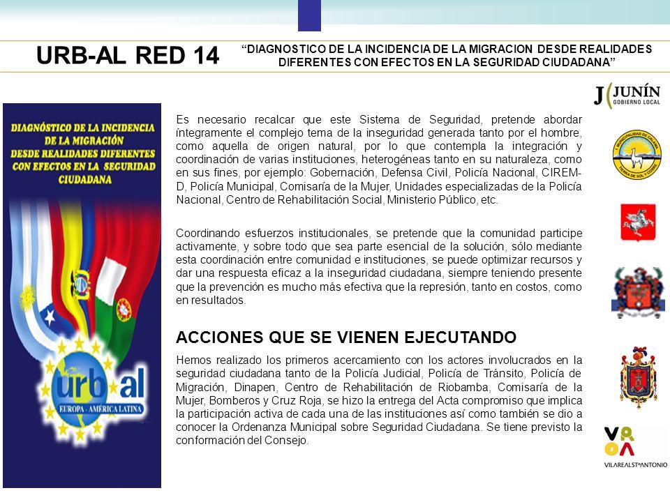 URB-AL RED 14 DIAGNOSTICO DE LA INCIDENCIA DE LA MIGRACION DESDE REALIDADES DIFERENTES CON EFECTOS EN LA SEGURIDAD CIUDADANA Es necesario recalcar que