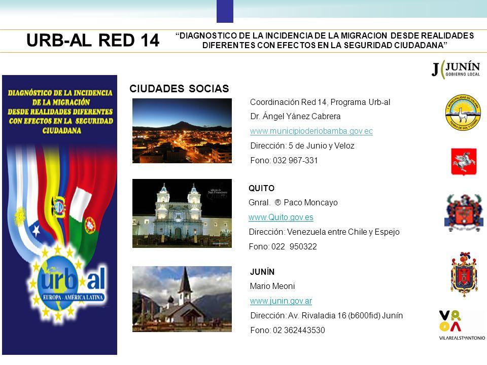 URB-AL RED 14 DIAGNOSTICO DE LA INCIDENCIA DE LA MIGRACION DESDE REALIDADES DIFERENTES CON EFECTOS EN LA SEGURIDAD CIUDADANA CIUDADES SOCIAS Coordinac