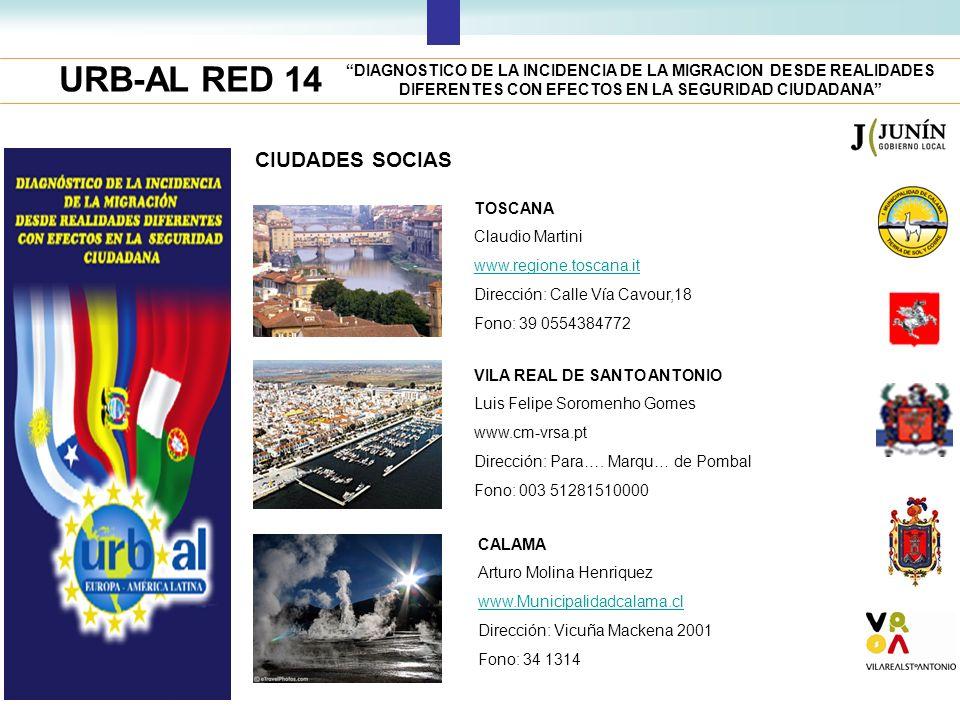 URB-AL RED 14 DIAGNOSTICO DE LA INCIDENCIA DE LA MIGRACION DESDE REALIDADES DIFERENTES CON EFECTOS EN LA SEGURIDAD CIUDADANA CIUDADES SOCIAS TOSCANA C