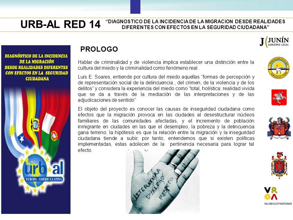 URB-AL RED 14 PROLOGO DIAGNOSTICO DE LA INCIDENCIA DE LA MIGRACION DESDE REALIDADES DIFERENTES CON EFECTOS EN LA SEGURIDAD CIUDADANA Hablar de crimina