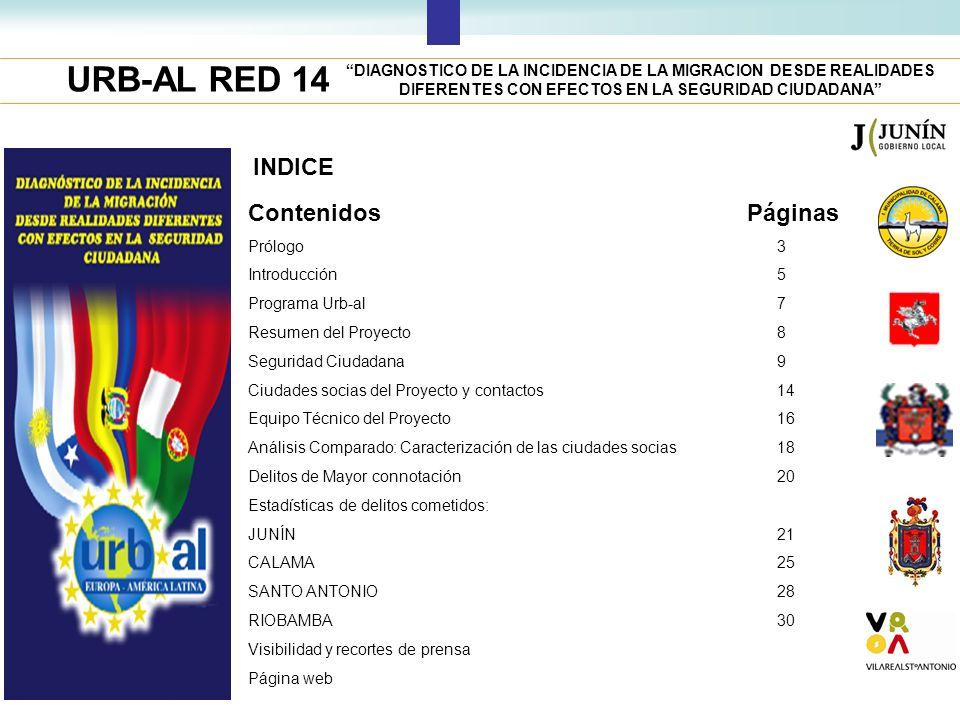 URB-AL RED 14 INDICE ContenidosPáginas Prólogo Introducción Programa Urb-al Resumen del Proyecto Seguridad Ciudadana Ciudades socias del Proyecto y co