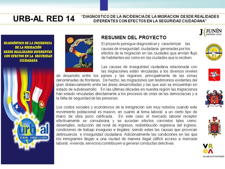 URB-AL RED 14 RESUMEN DEL PROYECTO El proyecto persigue diagnosticar y caracterizar las causas de inseguridad ciudadana generadas por los efectos de l