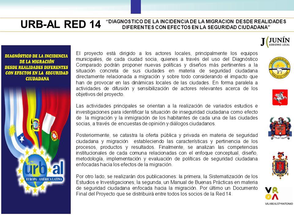 URB-AL RED 14 El proyecto está dirigido a los actores locales, principalmente los equipos municipales, de cada ciudad socia, quienes a través del uso