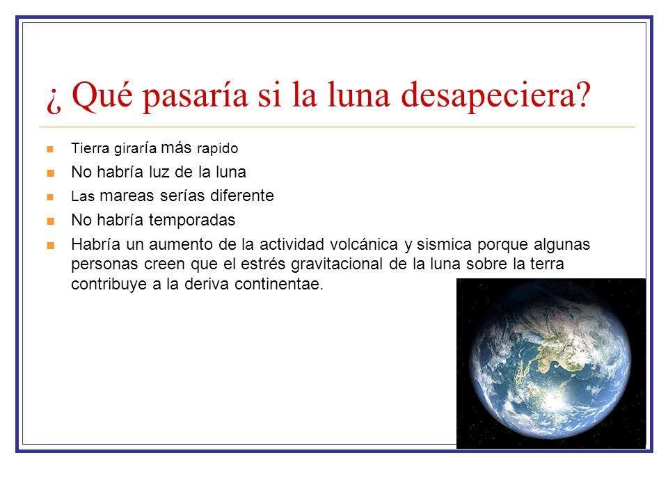 ¿ Qué pasaría si la luna desapeciera? Tierra girar í a más rapido No habría luz de la luna Las mareas serías diferente No habría temporadas Habría un