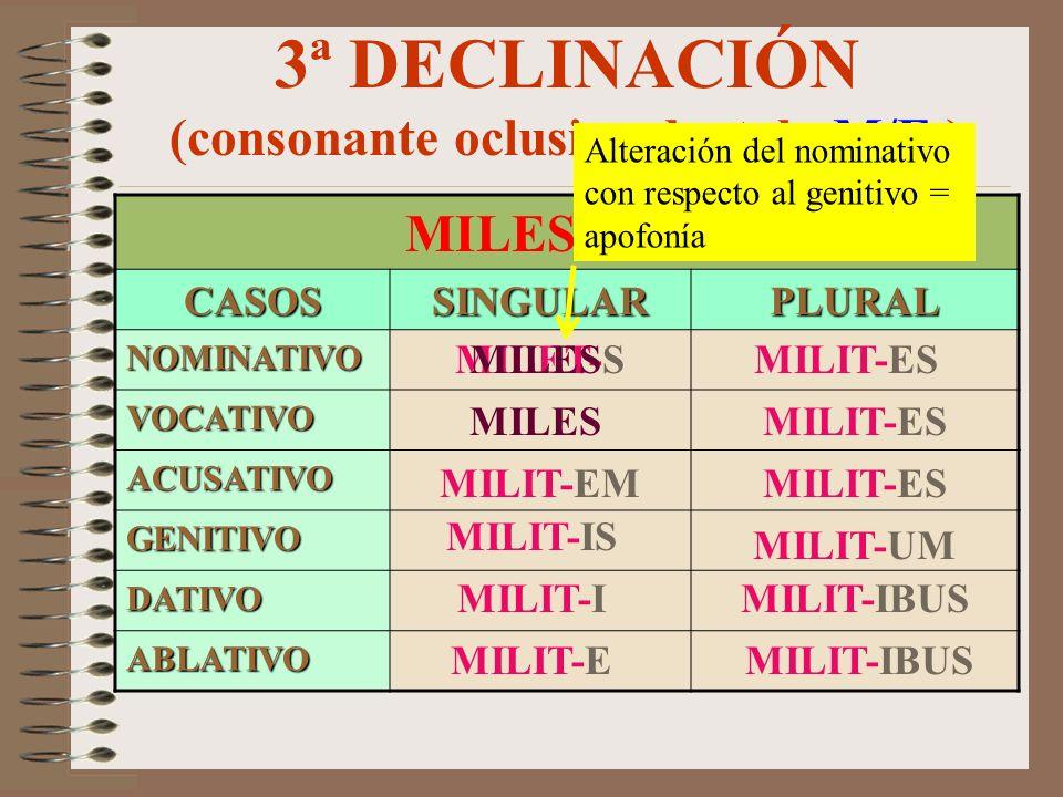 3ª DECLINACIÓN (consonante oclusiva velar –M/F-) DUX, DUCIS CASOSSINGULARPLURAL NOMINATIVO VOCATIVO ACUSATIVO GENITIVO DATIVO ABLATIVO DUC-EM DUC-S DU