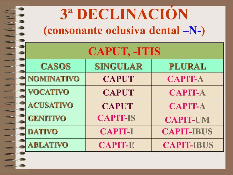 3ª DECLINACIÓN (consonante oclusiva dental –M/F-) MILES, -ITIS CASOSSINGULARPLURAL NOMINATIVO VOCATIVO ACUSATIVO GENITIVO DATIVO ABLATIVO MILIT-EM MIL