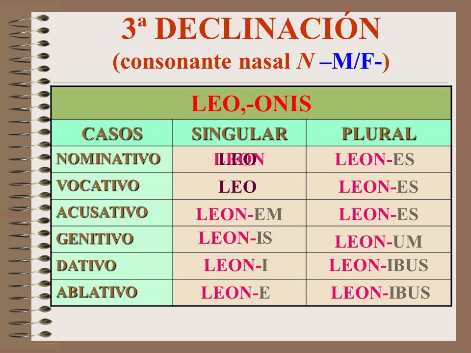 3ª DECLINACIÓN (consonante nasal M –F-) HIEMPS (HIEMS), HIEMIS CASOSSINGULARPLURAL NOMINATIVO VOCATIVO ACUSATIVO GENITIVO DATIVO ABLATIVO HIEM-EM HIEM