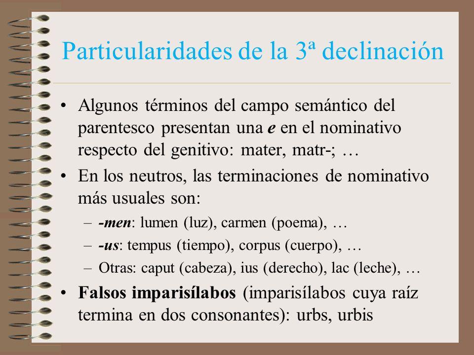 3ª DECLINACIÓN (vocal o parisílabo –N-) MARE,-IS CASOSSINGULARPLURAL NOMINATIVO VOCATIVO ACUSATIVO GENITIVO DATIVO ABLATIVO MAR-E MAR-I MAR-IA MAR-I M