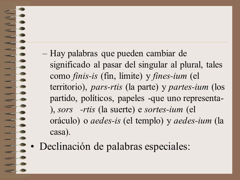 Particularidades referidas al número: –Hay palabras que solo tienen singular, como Hispalis- is, Sevilla, Neapolis-is, Nápoles, Barcino-is, Barcelona,