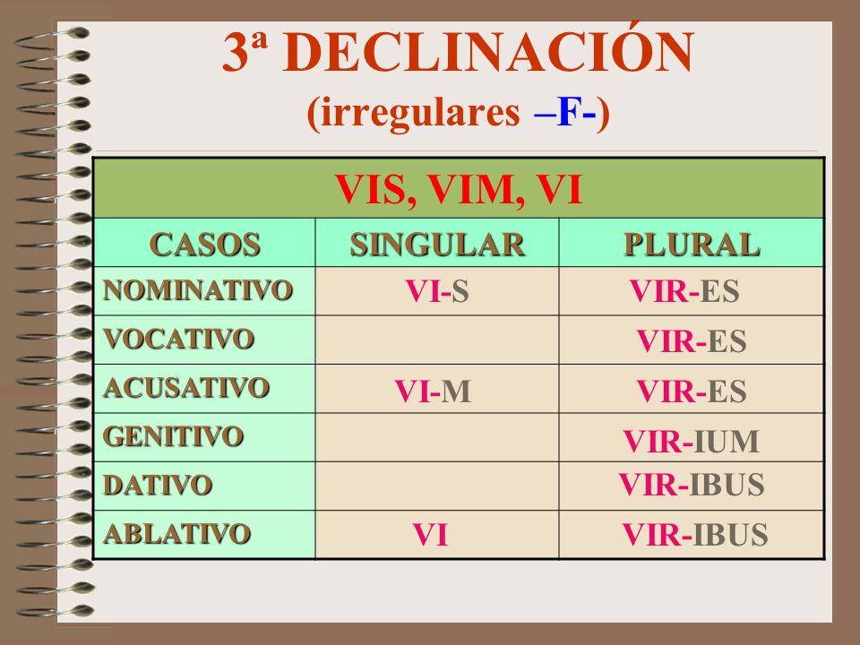 3ª DECLINACIÓN (irregulares –M-) IUPPITER, IOVISCASOSSINGULARPLURAL NOMINATIVO VOCATIVO ACUSATIVO GENITIVO DATIVO ABLATIVO IOV-EM IOV-E IOV-I IOV-IS I