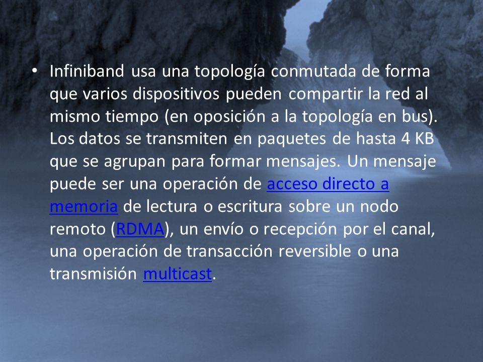 Infiniband usa una topología conmutada de forma que varios dispositivos pueden compartir la red al mismo tiempo (en oposición a la topología en bus).