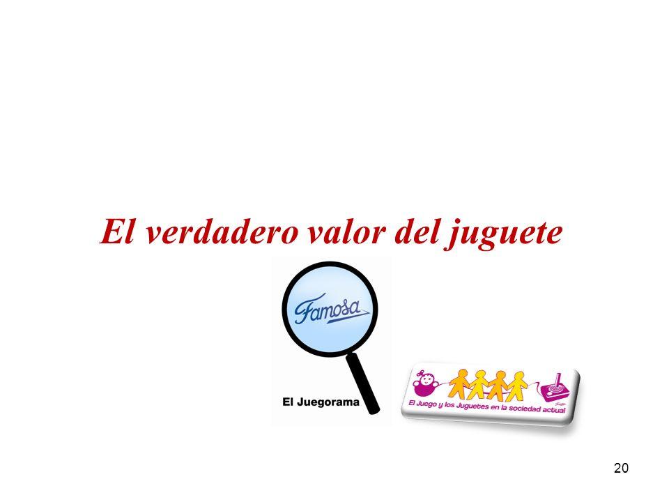 El Juegorama de Famosa 2010 / El Juego y el Juguete en la sociedad actual 20 El verdadero valor del juguete
