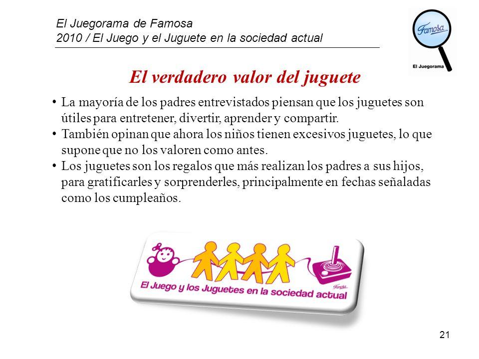 El Juegorama de Famosa 2010 / El Juego y el Juguete en la sociedad actual 21 El verdadero valor del juguete La mayoría de los padres entrevistados pie
