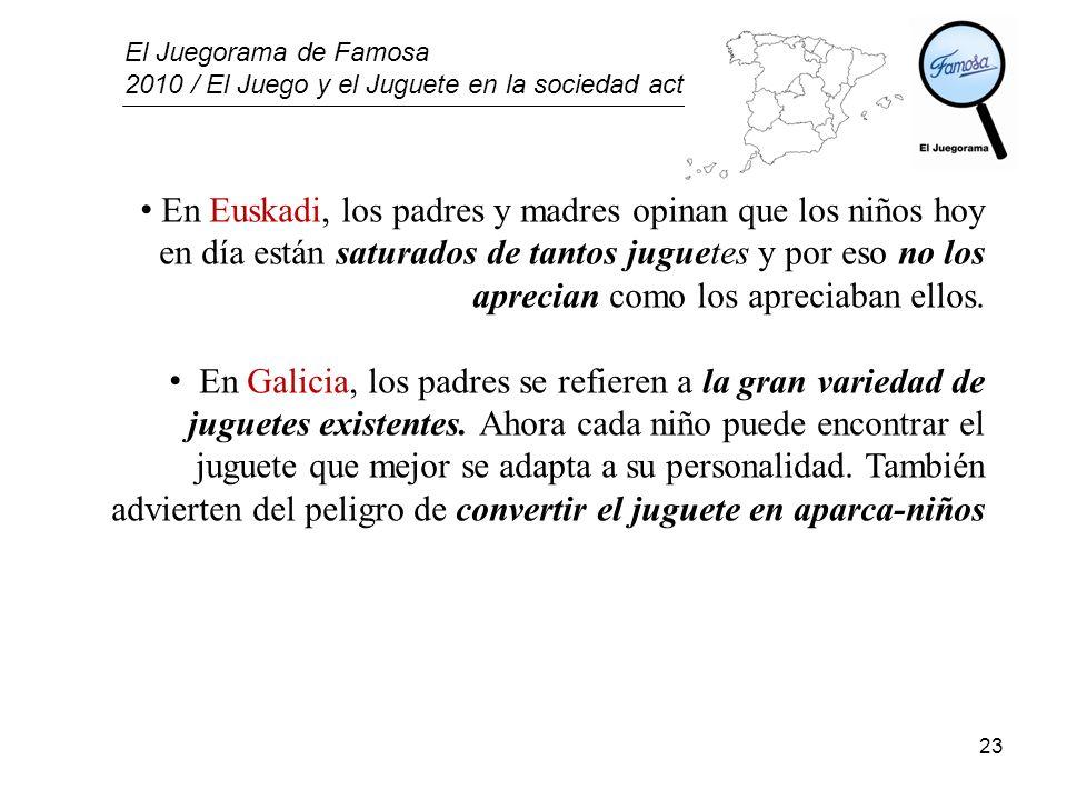 El Juegorama de Famosa 2010 / El Juego y el Juguete en la sociedad actual 23 En Euskadi, los padres y madres opinan que los niños hoy en día están sat