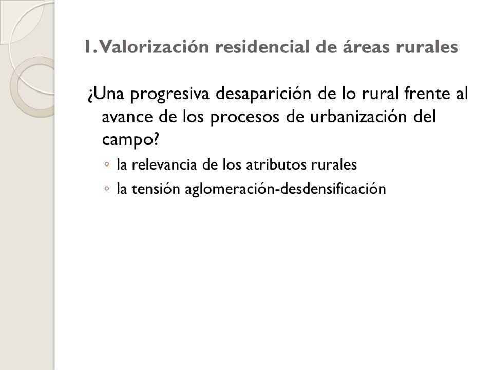 1. Valorización residencial de áreas rurales ¿Una progresiva desaparición de lo rural frente al avance de los procesos de urbanización del campo? la r